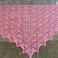 Flower Basket Shawl - blocked