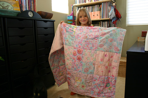Cuddle quilt with owner