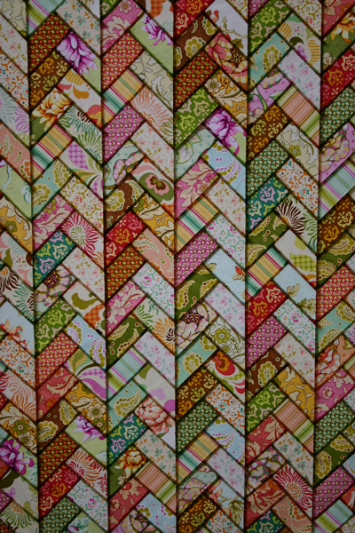 Heather Bailey Friendship Braid Quilt in window