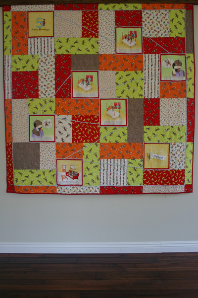 Funky Monkey Quilt Top - full view
