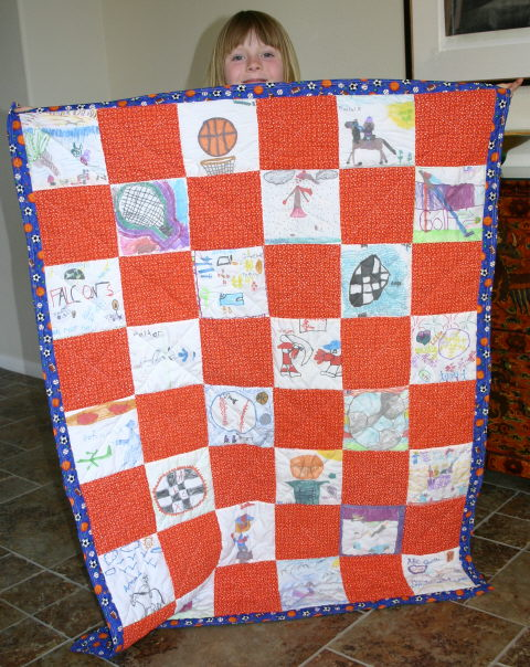 Charity quilt with classroom artwork