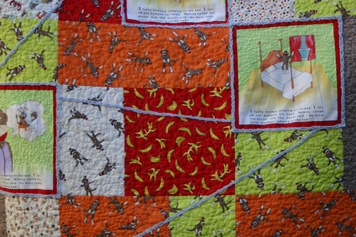 Funky Monkey Story Quilt - chenille detail